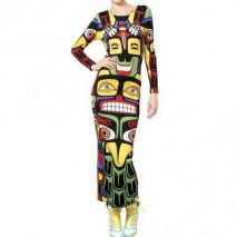 Adidas By Jeremy Scott Langes Jerseykleid Mit Totemdruck