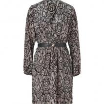 Akiko Black/Fawn Silk Wrap Dress