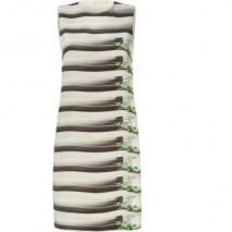 Akris Beige Stripe Formula 1 Printed Silk Dress