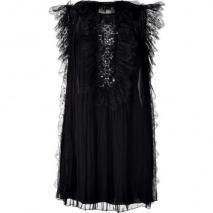 Alberta Ferretti Black Pleated Silk Dress With Crystal Detailing