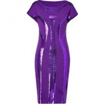Alberta Ferretti Purple Sequined Wool Dress