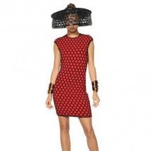 Alexander McQueen 3D Maschen-Viskose-Jacquard-Kleid Rot