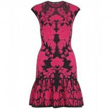 Alexander McQueen Intarsienstrickkleid Pink Black