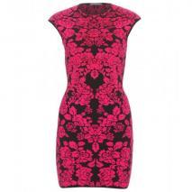 Alexander McQueen Intarsienstrickkleid Pink-Schwarzes Muster