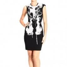 Alexander Mcqueen Short sleeve double jersey x ray print dress