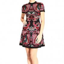 Alexander Mcqueen Short sleeve jaquard wool dress
