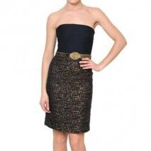 Alice+Olivia Gürtel Bustier Crepe & Lurex Tweed Kleid