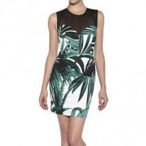 American Retro Kleid Aus Stretchtwill Mit Palmendruck