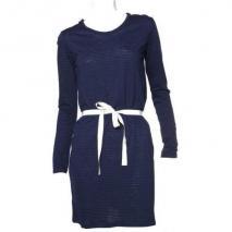 American Vintage Jersey-Kleid mit Gürtel dunkelblau blau