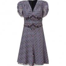 Anna Sui Black and Amethyst Art Deco Printed Kleid
