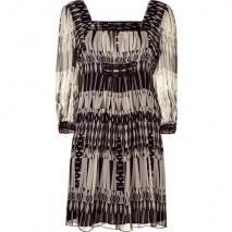 Anna Sui Black/Cream Aztec Print Kleid