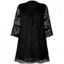 Anna Sui Black Crochet Lace Kleid