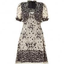 Anna Sui Black/Nude Floral Print Kleid