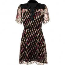 Anna Sui Black Toothbrush Patterned Kleid