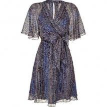 Anna Sui Electric Blue Lurex Wrap Kleid