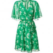 Anna Sui Green Wrap Silk Kleid