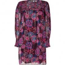 Anna Sui Hot Pink Multicolor Lurex Kleid