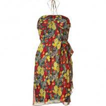 Anna Sui Lipstick Poppy Printed Silk Bustier Kleid