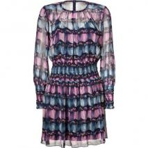 Anna Sui Navy-Multi Scattered Print Silk Kleid