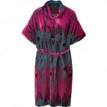 Anna Sui Pink/Petrol Belted Velvet Kleid