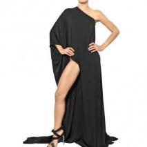 Anthony Vaccarello Langes Drapiertes Kleid Aus Technosatin
