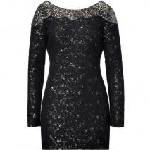 Antik Batik Black and Gold Sequin Embellished Lace Dress