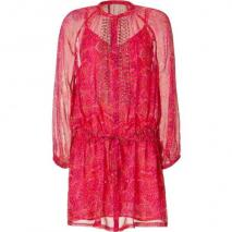 Antik Batik Fuchsia Multicolor Print Silk Tunic Dress