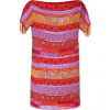 Antik Batik Red Multicolor Tribal Sequin Embroidered Dress