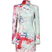 Balmain Mint-Multi Floral Silk Dress