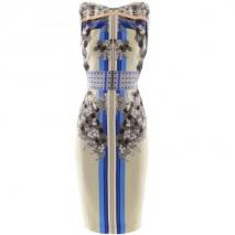 Berardi Ecru Anthra Print Dress