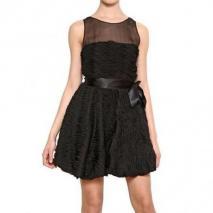 Blugirl 3D Techno Chiffon Auf Netz Kleid