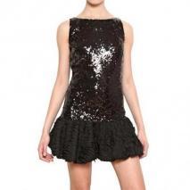 Blugirl Besticktes Techno Chiffon Auf Netz Kleid