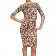 Blumarine Besticktes Bedrucktes Rayon Jersey Kleid Leo