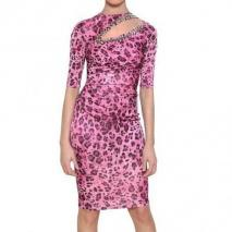 Blumarine Besticktes Bedrucktes Rayon Jersey Kleid Rosa Leo