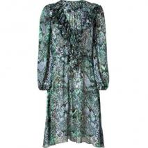 Blumarine Forest Multi Color Print Ruffled Silk Kleid