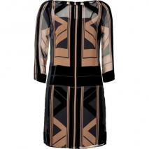 Catherine Malandrino Black/Tan Printed Velvet/Chiffon Combo Dress