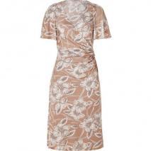 Collette Dinnigan Nude Hibiscus Wrap Front Silk Jersey Dress