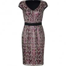Collette Dinnigan Rose/Silver Cap Sleeve Sequined Highland Dress