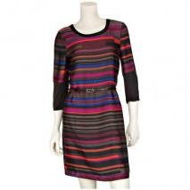 Comma Kleid Schwarz mit bunten Streifen