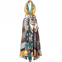 D&G Dolce & Gabbana Multicolor Printed Silk Halter Gown
