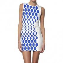 David Koma Bedrucktes Kleid Aus Viskosejersey Blau Weiß