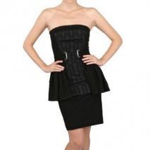 David Koma Seiden Jacquard & Techno Jersey Kleid
