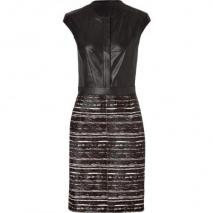 Derek Lam Black/Brown Striped Leather/Haircalf Dress
