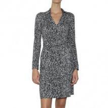 Diane von Furstenberg Bedrucktes Seiden Jersey Wickel Kleid Grey
