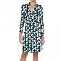 Diane von Furstenberg Bedrucktes Seiden Jersey Wickel Kleid Türkis