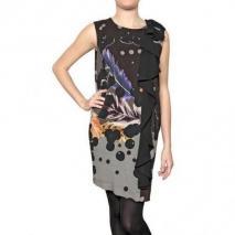 Didier Parakian Crepe Viskose Liberty Bedrucktes Kleid