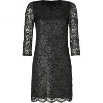 DKNY Black Metallic Floral Lace Kleid