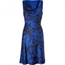 DKNY Blue/Black Printed Sleeveless Cowl Neck Kleid