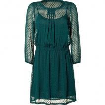 DKNY Bottle Green Patterned Chiffon Kleid