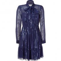 DKNY Cadet Blue Sequined Kleid